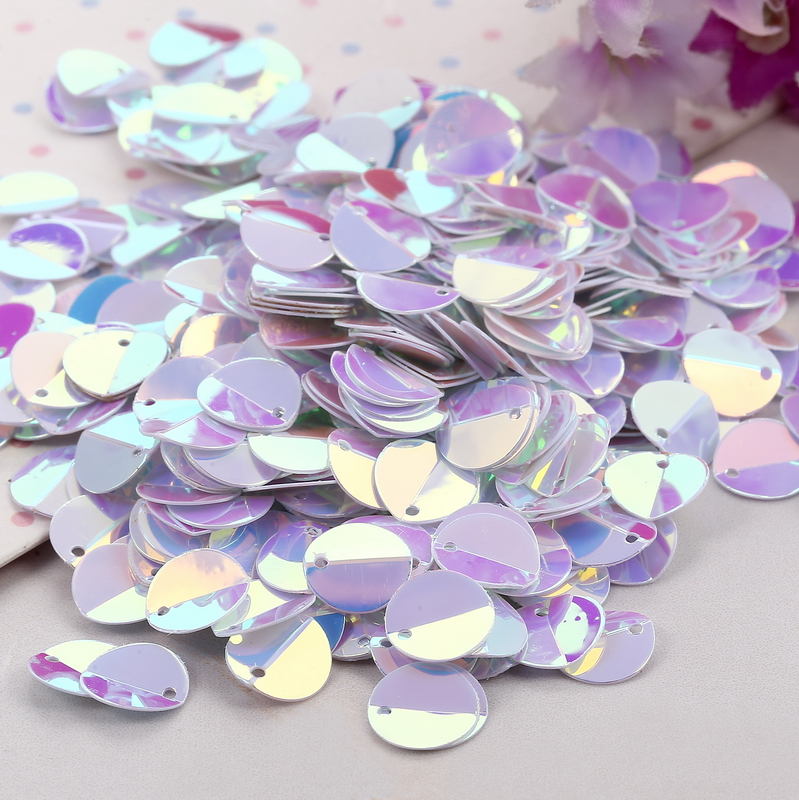 480pcs 10mm White Cup Oval Folding Sequins Horse Eyes Shape Crafts Loose Paillettes Stickers Diy Wedding Sewing Accessories