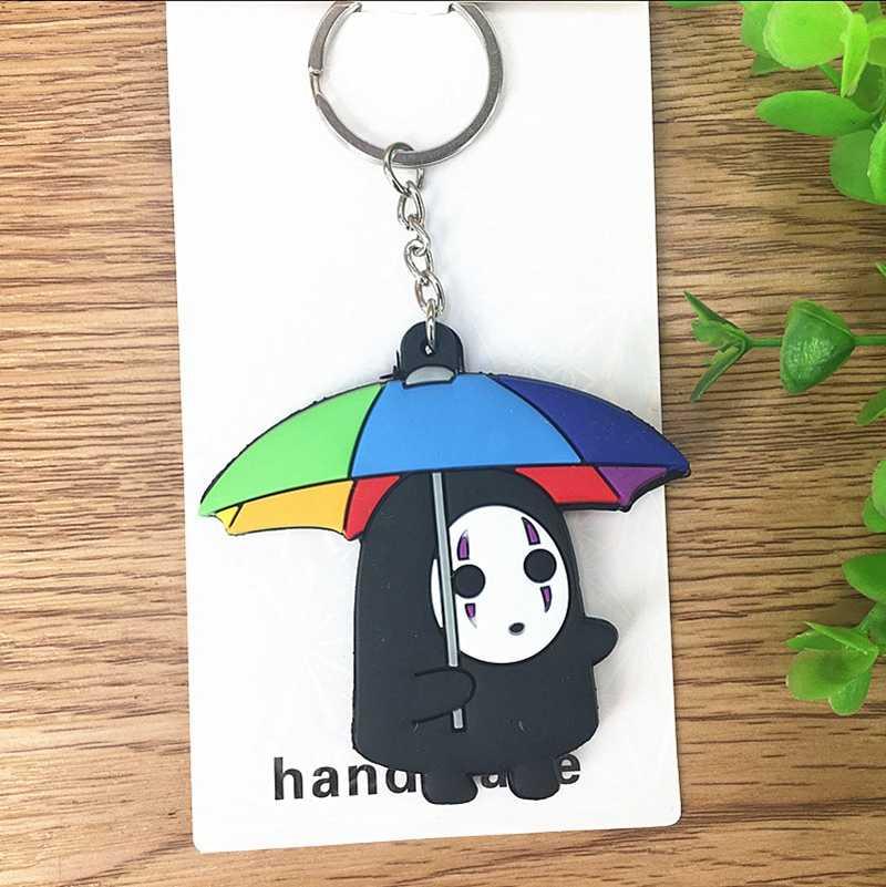 Totoro No Face man Kawaii ของเล่นเด็กรูปการ์ตูนอะนิเมะพวงกุญแจห่วงโซ่พวงกุญแจ 3D ด้าน Double Double PVC Handmade action ของเล่น