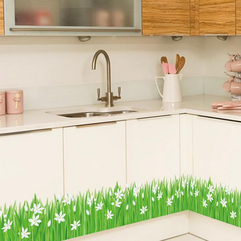 % Diy Lily Flower Grass Skirting Line Diy Home Decal Baseboard Wall Sticker  Kitchen Bathroom Furniture Wedding Mural Art Poster In Wall Stickers From  Home ...
