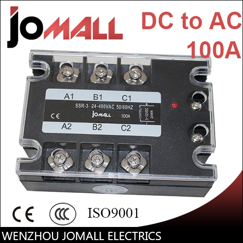 100A DC control AC SSR three phase Solid state relay free shipping 2pc 100a industrial single phase ac dc ac single phase solid state relay 100a zyg d48100 dc control ac 100a