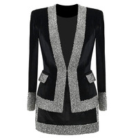 Женская куртка и юбка с бриллиантами, комплект из 2 предметов, плюс размер, бархатный блейзер 5XL 6XL, потрясающая зимняя куртка, офисное платье