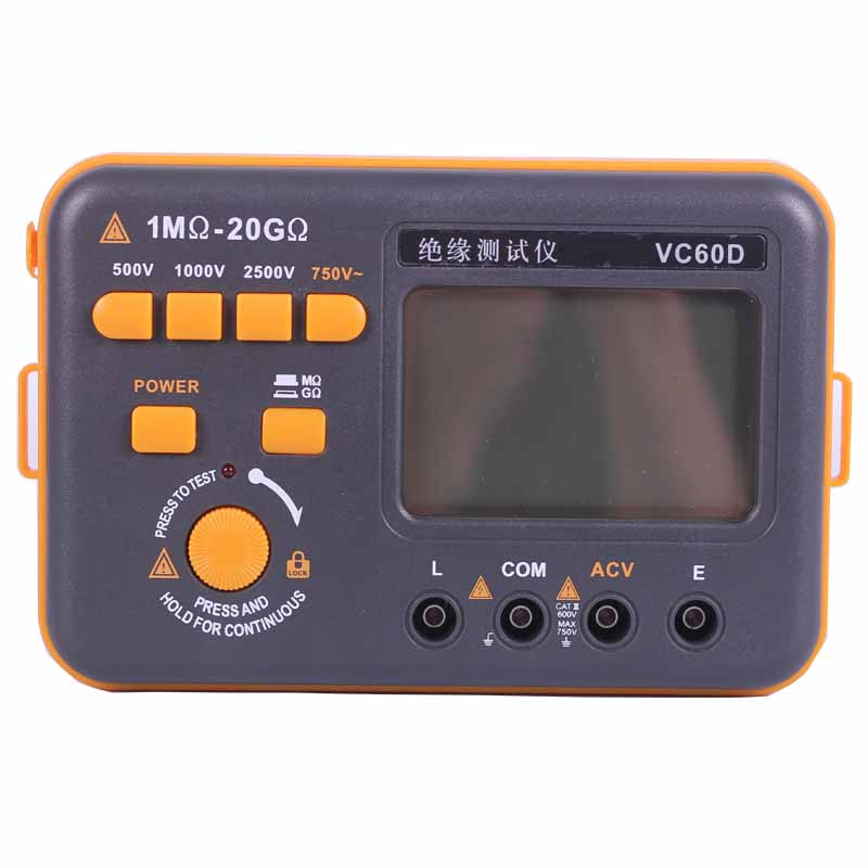 E+ERNE VC60D LCD Digital Insulation Resistance Tester Megger MegOhm Meter Testers Measure 2G/20G Resistance 500V/2500V as907a digital insulation tester megger with voltage range 500v 1000v 2500v