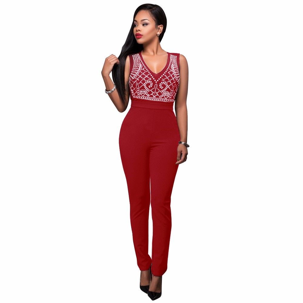 2017 New Summer Women Jumpsuit Bandage Black Bodysuit V-Neck Sleeveless Print Zipper Back Sexy Bodycon Jumpsuits And Rompers 15