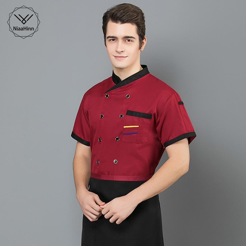 Chef Hat High Quality Hotel Chef Uniform Short Sleeved Unisex Kitchen Work Clothes Men's Professional Clothing Restaurant Shirt