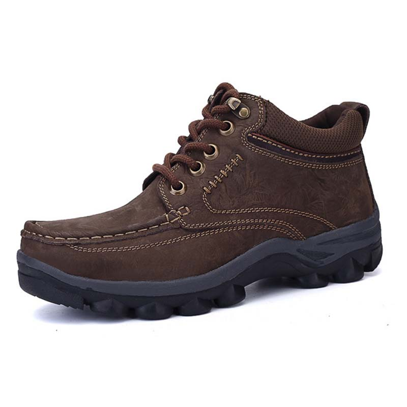 Lace Up Working Shoes New Autumn Winter Mens Sports Trekking Mountain Climbing Shoes Male Casual Shoes Genuine Leather