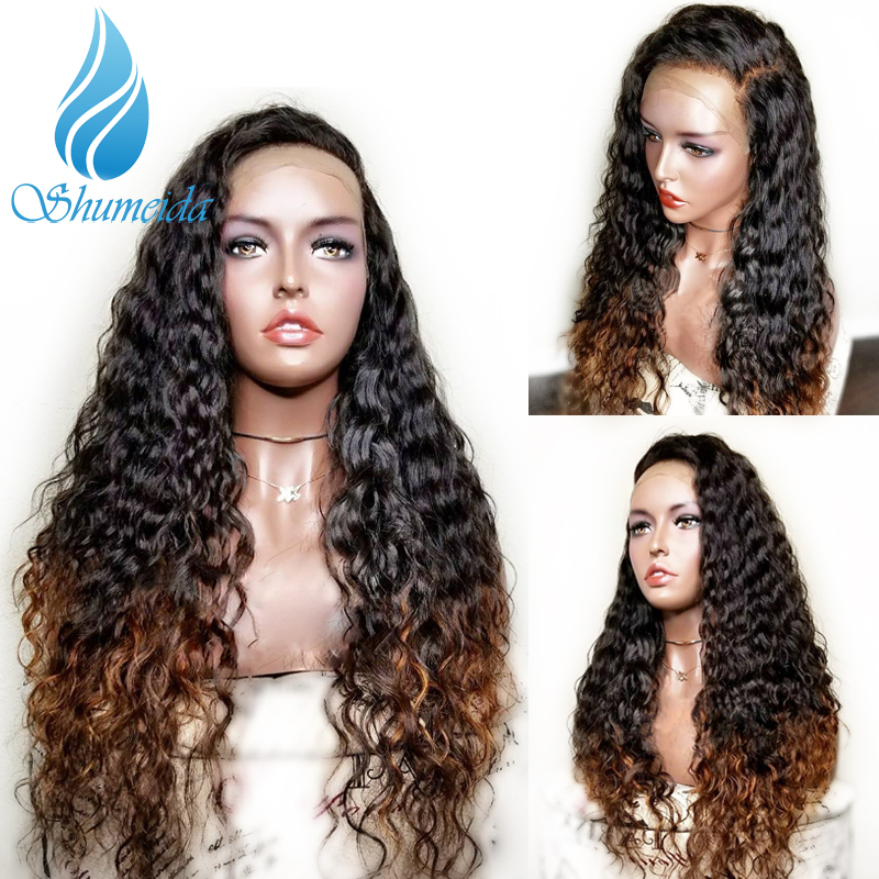 13 3 Ombre Brown Lace Front Wigs with Pre Plucked Remy Human Hair Brazilian Kinky Curly