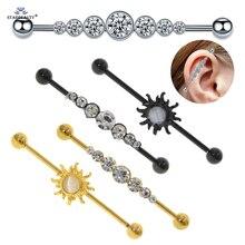 Starbeauty 1 pc/lot Hot Opal Sun Gem 14G Ear Piercing Industrial Piercing Earring Stainless Steel Barbell Helix Ear Jewelry