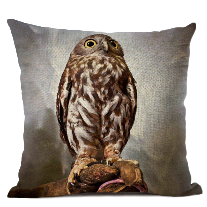 Cartoon Cushion Cover Owl Family Print Pillow Case Bird Cotton Linen 45 45 CM Throw Pillow Cover Decoration For Home Office in Cushion Cover from Home Garden