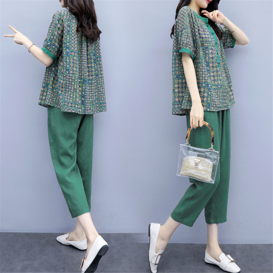 2019 Spring Summer Tracksuit Women Plus Size Casual Two Piece Set Top And Pants Fashion Short O-Neck + And Calf-Length Pants Set