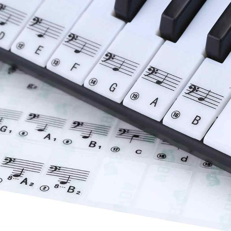 88 Keys Transparent Piano Key Note Stickers for Piano Electronic Keyboard Stave Note Sticker for White Key Keyboard Sticker