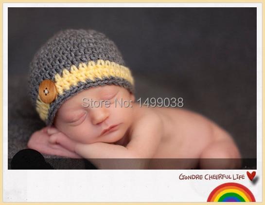 Bébé Garçons Chapeau Prématuré Nouveau-Né à 12 m Crochet Bois Bouton Bande  Photo Prop Neutre SUPER DOUX 7800b6191e8