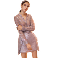 European Runway Dresses 2018 Autumn Luxury Sequined Pearl Buttons V neck Long Sleeve Mini Dress Elegant Two Piece Dress
