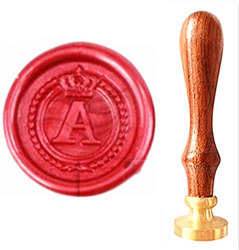 MDLG Vintage Alphabet Letter A Crown Wedding Invitations Gift Cards Wax Seal Stamp Stationary Sealing Wax Stamp Wood Handel Set design personalized printing red wedding invitations cards blank paper card kit laser cut lace flower convite pack of 50