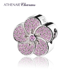 Image 1 - ATHENAIE Genuine 925 Sterling Silver with Pave Pink CZ Plum Blossom Charm Beads Fit All European Bracelets Necklace Color Pink
