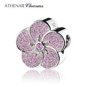 Image 1 - ATHENAIE hakiki 925 ayar gümüş açacağı pembe CZ erik çiçeği göz alıcı boncuk Fit tüm avrupa bilezikler kolye renk pembe