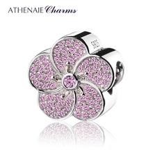 Athenaie本物の 925 スターリングシルバーピンクcz梅チャームビーズはすべて欧州ブレスレットネックレス色ピンク