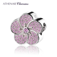 ATHENAIE 925 Sterling Silver Plated Platinum With Pave Pink CZ Plum Blossom Charm Fit All European