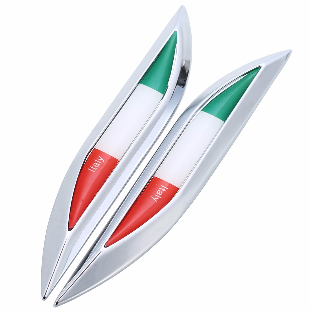 Metal 2pcs/set Italy Flag logo side Car Side Fender Skirt Emblem Badge 3D decoration Sticker Decal car styling letter countries car sticker sports word letter 3d chrome metal emblem badge decal auto dropshipping 014