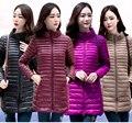 2016 abajo para mujer abrigo de medio largo fino mujer Collar del soporte delgado más breve luz prendas de vestir exteriores de la capa caliente calidad JX469