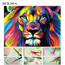 Frame DIY Painting By Numbers Kits Colorful Lions Animals Hand Painted Oil Paint For Home Decor 40x50cm Art