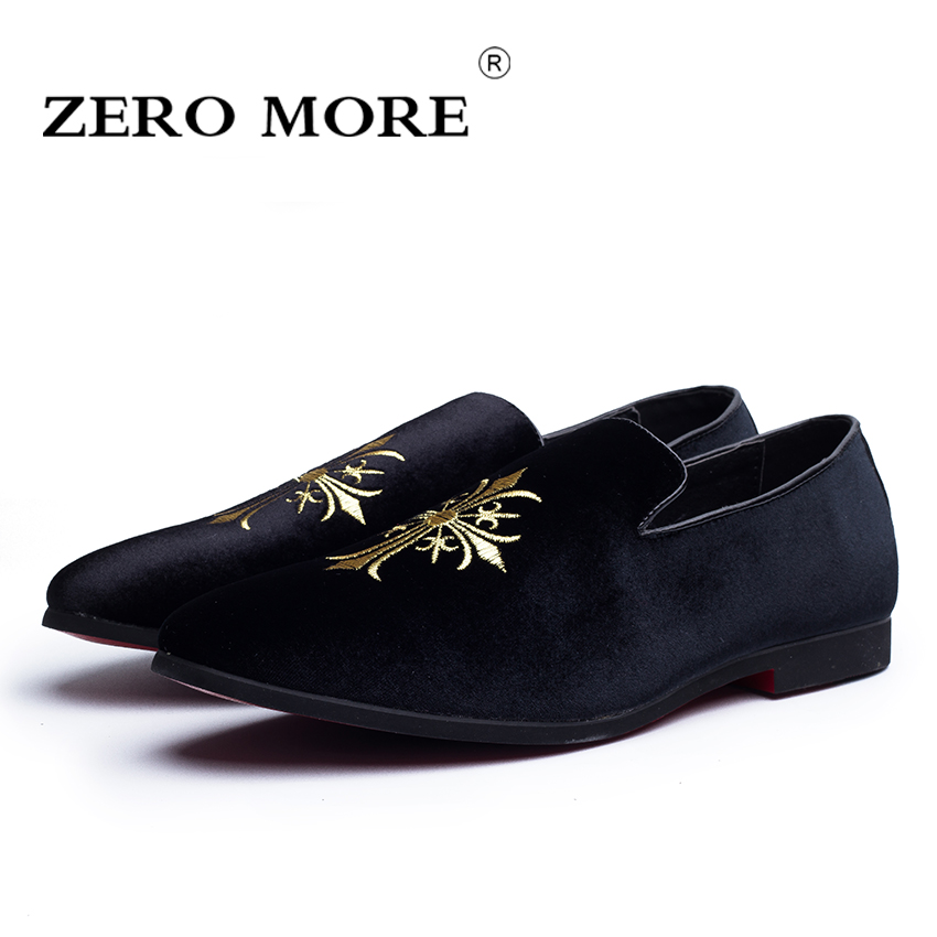 ZERO MORE Slip On Men Shoes Casual Geometric Light Soft Anti-Odor Pointed Toe Flock Men Loafers Moccasins Fashion #ZM100