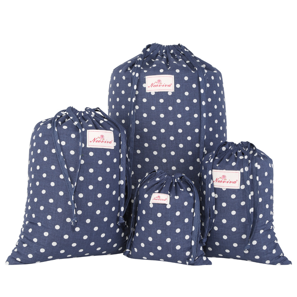 Neoviva Durable Laundry Bag Set for Travel with Drawstring, Pack of 4 in Different Sizes, Polka Dots Crown Blue Storage Bags Set
