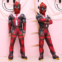 Free shipping adult men black red halloween party cosplay muscle deadpool costume clothing clothes jumpsuit mask belt