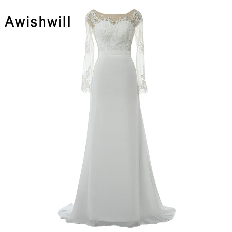 Real Photo Long Sleeve Wedding Gowns See Through Back Lace Chiffon Sweep Train Country Western Cheap Boho Wedding Dresses