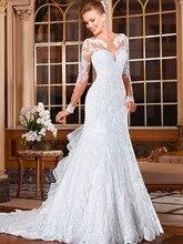 Weddings Events - Wedding Dresses - Alice Girl Vestido Noiva Sexy Mermaid Wedding Dresses 2018 Romantic Appliques Lace Dress Button Back Long Sleeve Robe De Mariage