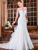 Alice Girl Vestido Noiva Sexy Mermaid Wedding Dresses 2018 Romantic Appliques Lace Dress Button Back Long