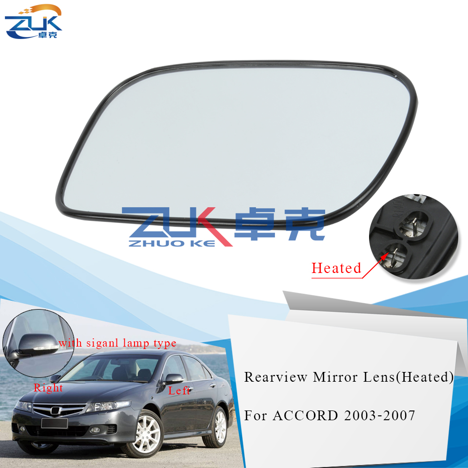 ZUK Heated Outer Rearview Mirror Glass Heating Lens For HONDA For ACCORD 3.0L CM6 2006 2007 For ACCORD Euro CL7 CL9 2002-2008