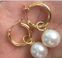 Selling 9 10mm Perfect Round White Australia South Sea Pearl Dangle Earring EPacket Free Shipping
