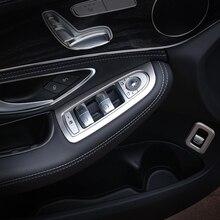 4pcs Car Door Window Lift Switch Button Cover Trim Frame For Mercedes C Class Benz W205 2014 2015 C180 C200 C250 C300 C400 C63 цены онлайн