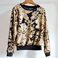 На продажу 2016 дизайнерский бренд женщины сексуальное блесток рукавом барокко pattern металлик повседневная перемычка вышивка трикотаж роскошные пуловеры