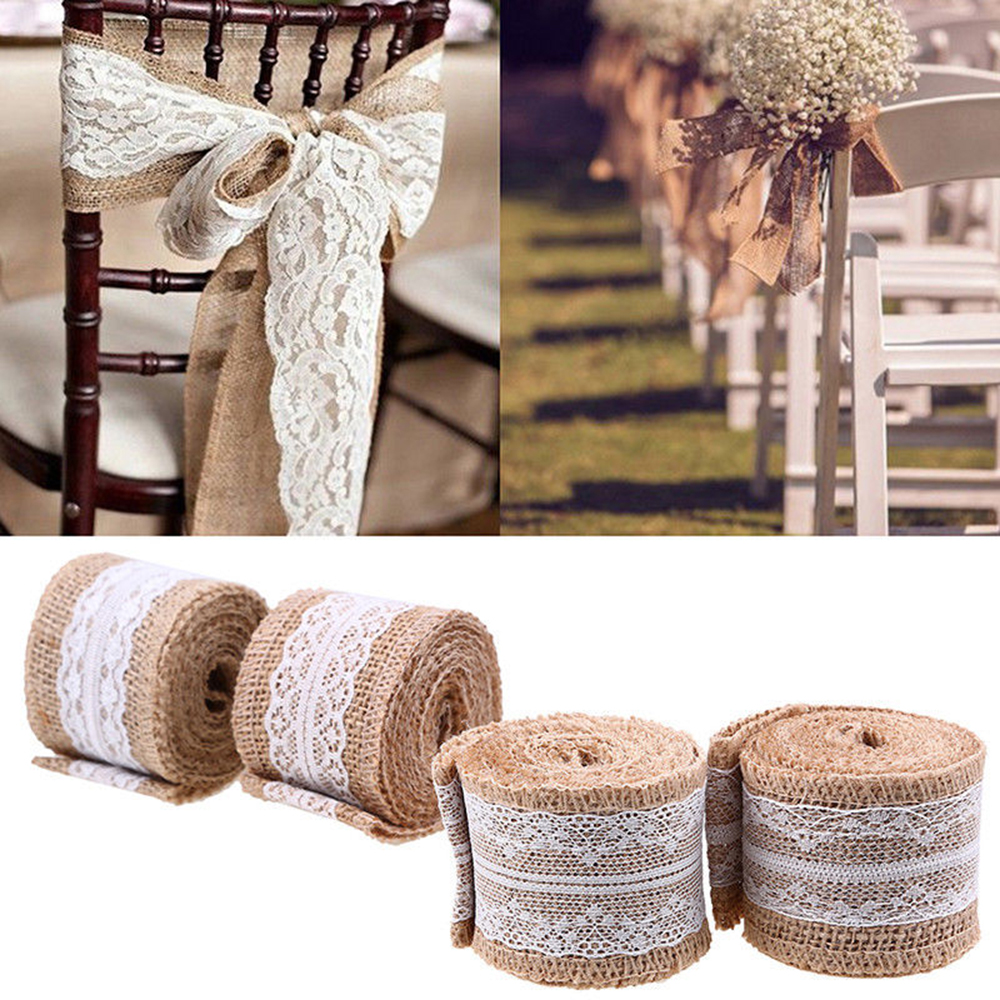 2M Roll Lace Edged Hessian Ribbon Sisal Lace Trims Jute Burlap Vintage Rustic Event Party Wedding Centerpieces Decoration