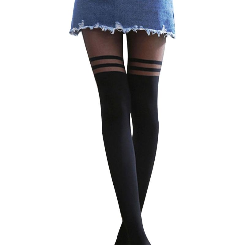 Women Sexy Cool Stockings Over The Knee Double Stripe Sheer Black Temptation Sheer Mock Suspender Pantyhose Tights