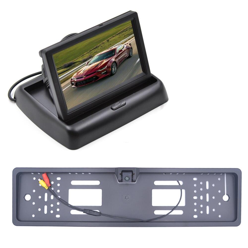 4,3-дюймовый автомобильный HD монитор зеркала заднего вида TFT-LCD цветной монитор автомобильная парковочная система ЕС рамка номерного знака А...