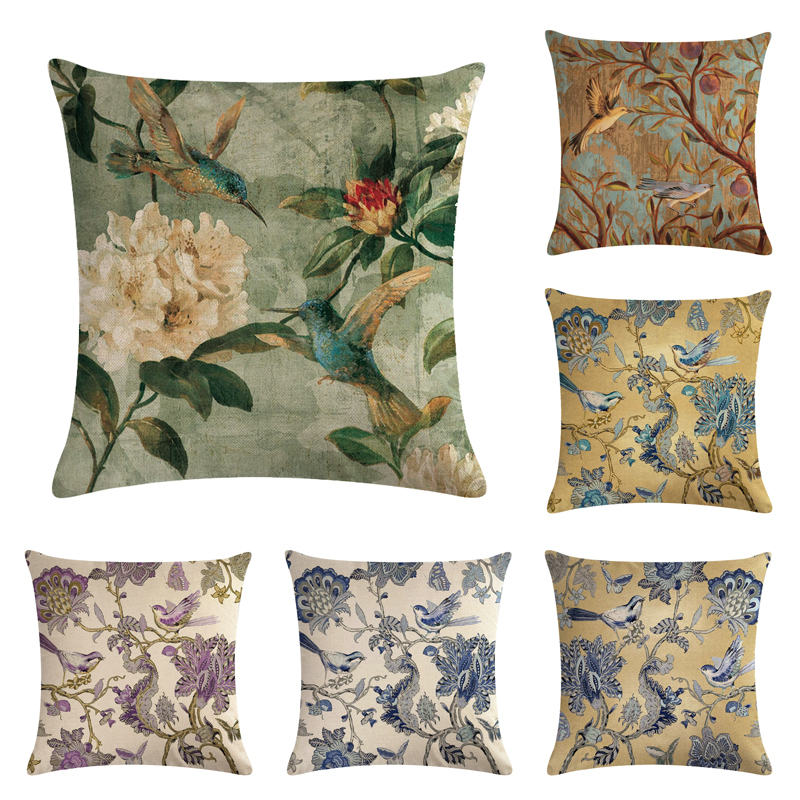 Cushion Cover Purple Flower Cushion Cover Watercolor Painting Flowers Home Decorative Throw Pillow Cover Cotton Linen Sofa Chair Pillow Case Table & Sofa Linens