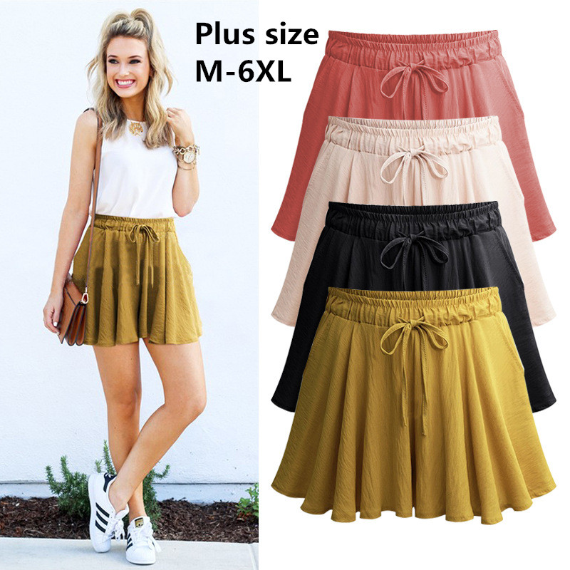 2019 Summer Plus Size 6XL Women Shorts Skirts Cotton Wide Leg Shorts Womens Casual Loose  Female  Large Size Shorts