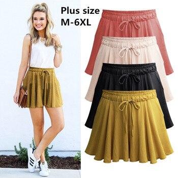 ff69884880 2019 verano Plus tamaño 6XL mujeres pantalones cortos de algodón faldas de  ancho de la pierna pantalones cortos para mujer Casual mujer de gran tamaño  ...