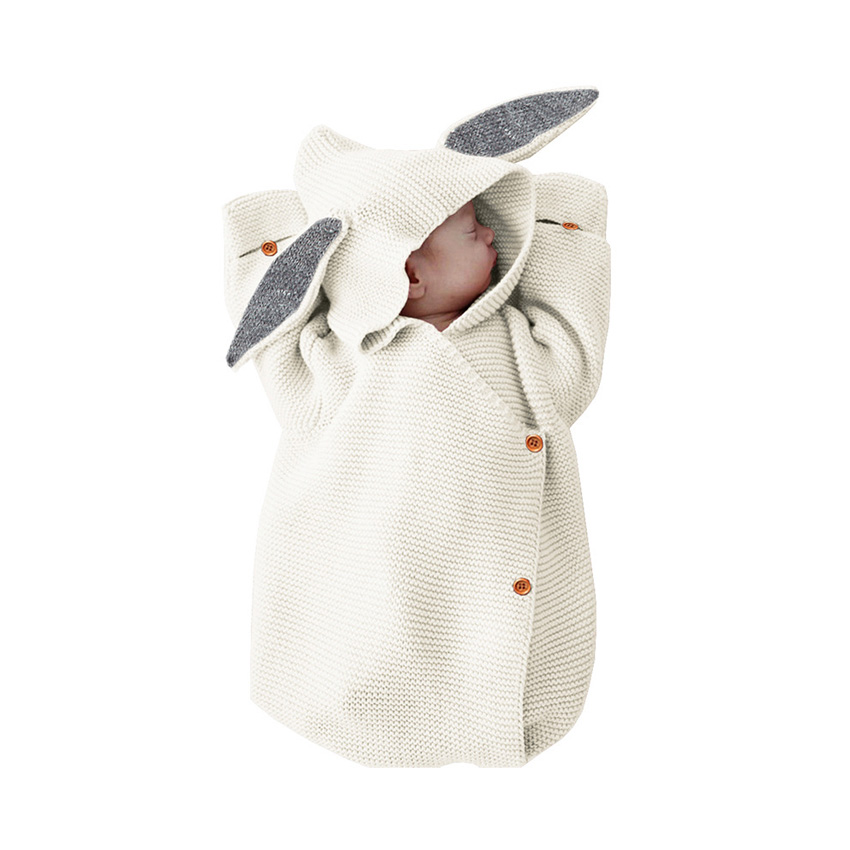 2019 Newborn Baby Blankets Knitted Baby Covers Rabbit Ear Swaddling Baby Wrap Photography Bunny Style Swaddle Wrap