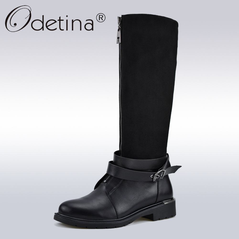 Odetina Flock Leather Fashion Infront Zip Women Boots Buckle Strap Lady Knee High Boots Soft Low Heel Riding Boots Autumn Winter