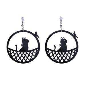 Женские винтажные круглые серьги-котята E19030, геометрические черные акриловые серьги, 2019