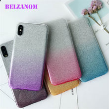 Luxury Gradient Colorful 3 in 1 Glitter Cases For iphone 7 8 plus X Soft TPU Bling Silicone Case For iphone 6 6s plus Fundas(China)