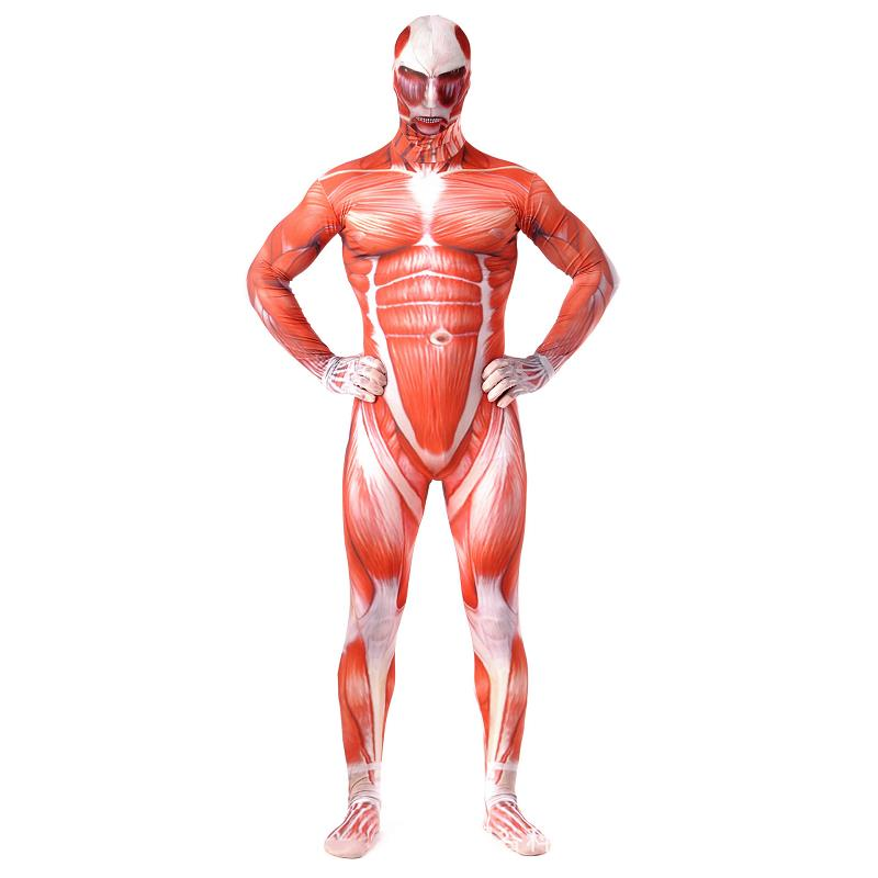 Attack On Titan Cosplay Costumes Men Titans Muscle Muscular 3D Print Adult Jumpsuits Flesh Zentai Halloween