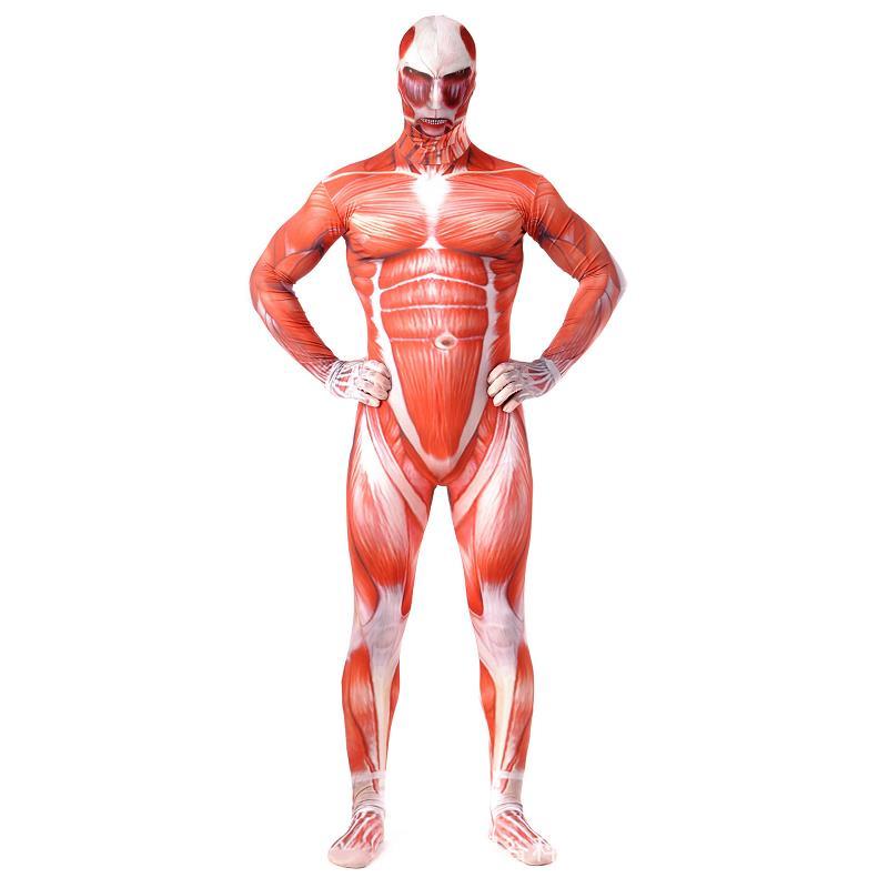 Aanval Op Titan Cosplay Kostuums Mannen Titans Spier 3d Print Volwassen Jumpsuits Flesh Zentai Halloween Kostuum