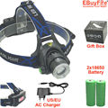 Zoom Rechargeable Headlight 18650 Led Headlamp Waterproof  XM-L T6 2000LM Head Lamp Light +2x 3.7v 18650 Battery + Charger