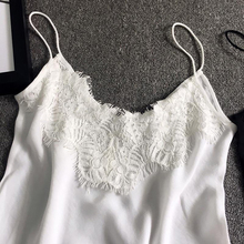 EXCOSMIC Sexy Lace Female Tank Tops Women Silk Sleeveless V Neck Women's Camisole Lace Tank Top Feminino Slim Summer Clothe stylish v neck lace openwork tank top for women