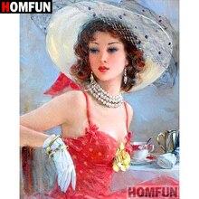 HOMFUN 5D DIY Diamond Painting Full Square/Round Drill Elegant girl Embroidery Cross Stitch gift Home Decor Gift A09192 ботинки shoiberg shoiberg sh003amglu39