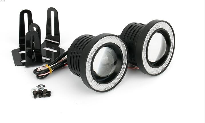 2pcs FOG Projector Lens  Angel eyes LED DRL Fog Driving Light  2.5inch 3.0inch 3.5inch COB Halo Ring white color yellow color mp620 mp622 mp625 projector color wheel mp620 mp622 mp625